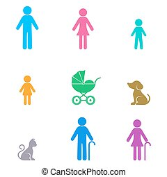 Colorful vector simple family icons