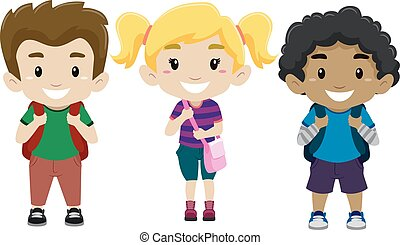 Happy Kids as student - Vector Illustration of Happy Kids as...