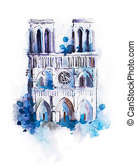 Watercolor drawing of Notre-dame. aquarelle Paris view...