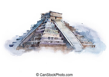 pyramid Chichen Itza in Mexico watercolor drawing. Temple of...