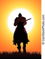 Medieval knight on horse - Silhouette of a medieval knight...