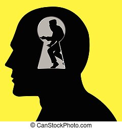 Intellectual Property - Silhouette of a thief seen through a...