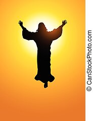 Ascension Of Jesus Christ - Silhouette illustration of the...