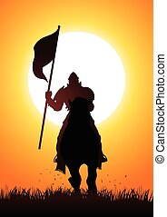 Knight on horse carrying flag - Silhouette of a medieval...