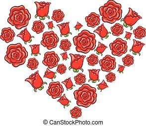 Rose Heart Shape - Vector Illustration of Rose Heart Shape