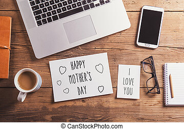 Happy mothers day sign Studio shot, wooden background -...