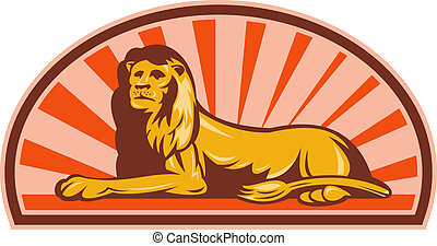 Lion sitting with sunburst in background