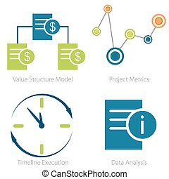Business metrics icon set - An image of a Business metrics...