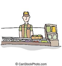 Sandwich shop worker making food - An image of a Sandwich...