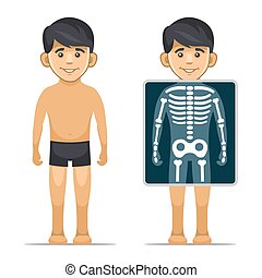 Two Cartoon Style Boy with X-ray Screen and Skeleton. Vector...