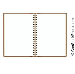 Blank Realistic Open Notebook Isolated On White Background
