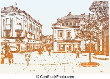 sketch vector illustration of Uzhgorod cityscape, Ukraine -...