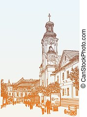 original digital sketch vector illustration of Uzhgorod...