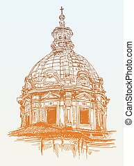 sketch drawing of old basilica from Rome, Italy, vector...