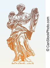 sketch ink drawing marble statue of angel from the Sant...
