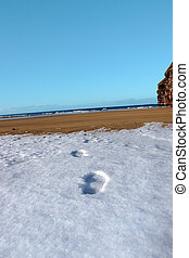 footprint tracks in snow at empty beach on a cold day -...