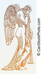 digital sketch drawing of marble statue sad angel in St. Peter