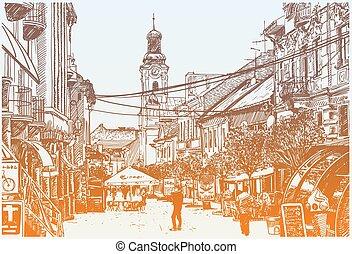original digital sketch vector illustration of Uzhgorod...