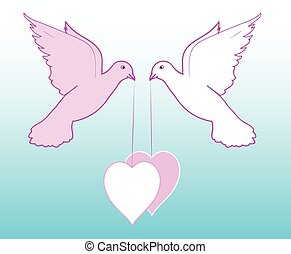 Doves with hearts