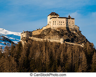 Tarasp castle in Swiss Alps - Tarasp Castle - fortified...