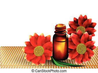 aromatherapy bottle and flowers on wooden table