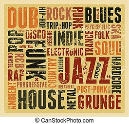 Music Styles typographic poster. - Music Styles typographic...