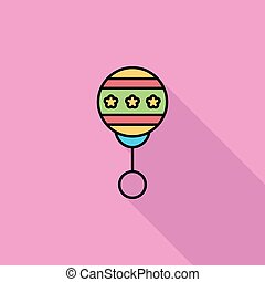 Rattle flat icon - Rattle icon Flat vector related icon with...