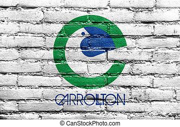 Flag of Carrolton, Texas, painted on brick wall