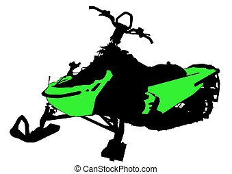 Snowmobile - Sports snowmobile on a white background