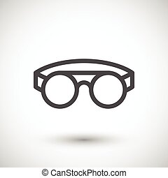 Protective welding goggles line icon isolated on grey Vector...
