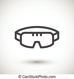 Protective goggles line icon isolated on grey Vector...