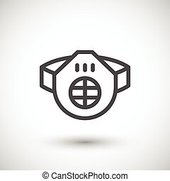 Protective respirator line icon isolated on grey Vector...