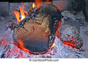 Burning Log in Open Fire - A Burning Log in an Open Fire...