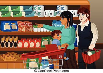Family Shopping Grocery Together
