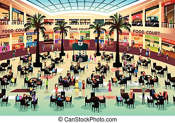 People Eating in a Food Court - A vector illustration of...