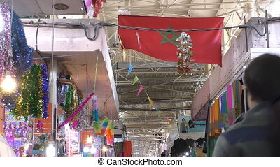 Moroccan flag in the market