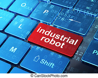 Manufacuring concept: Industrial Robot on computer keyboard background