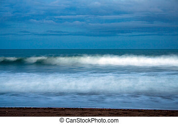 Stormy beach scene, Taipa Beach, Northland, New Zealand -...