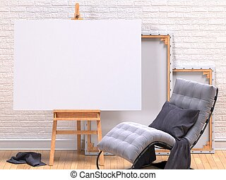 Mock up poster with grey easy chair - Mock up canvas frame...