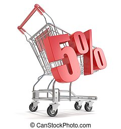 5 - five percent discount in front of shopping cart Sale...