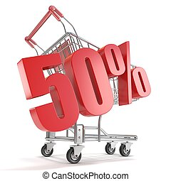 50% - fifty percent discount in front of shopping cart. Sale...