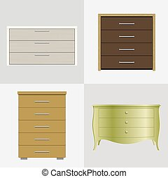 Four different chest - Set of different drawers, wardrobes...