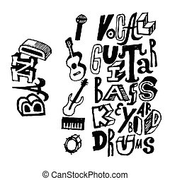 Music Band instruments poster.