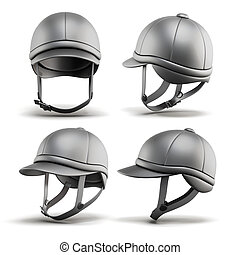 Set of jockey helmet for horseriding on a white background...