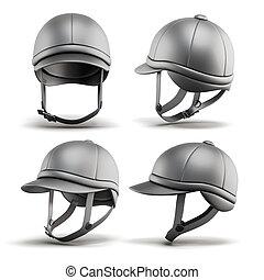 Set of jockey helmet for horseriding on a white background....