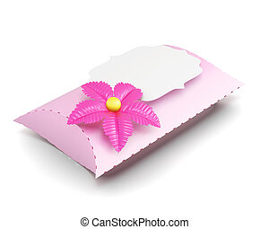 Pink gift box handmade isolated on white background. 3d renderin