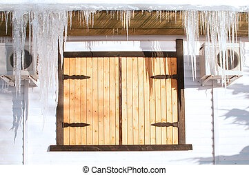 heavy icicles - icicles hanging from the roof of winter...