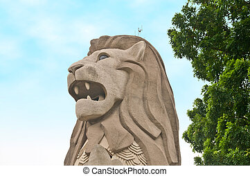 Merlion, Singapore - The head of the famous Singapore...