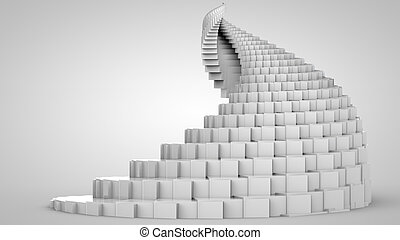 3D illustration of spiral object like staircase
