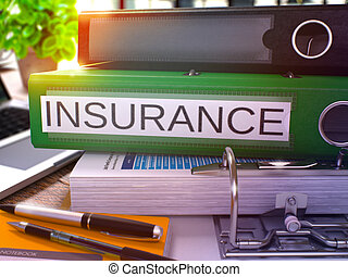 Insurance on Green Office Folder Toned Image - Insurance -...